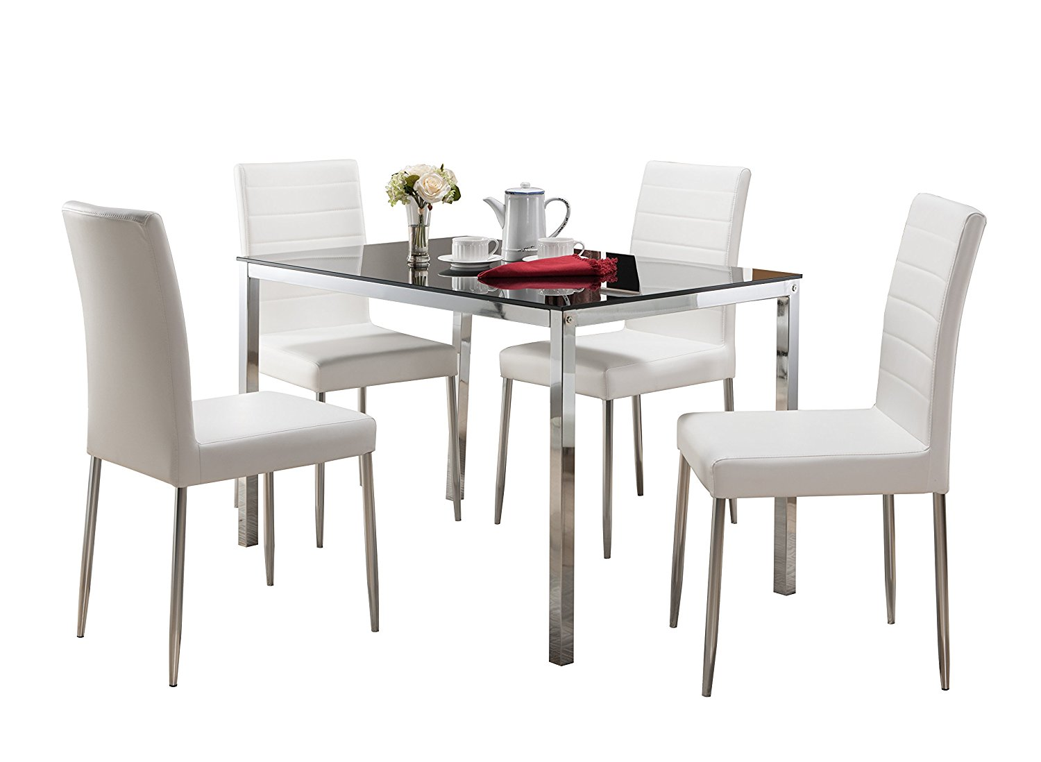 Get Quotations Pilaster Designs 5 Pc Set Rectangle Dining Table With Gl Top Metal Base