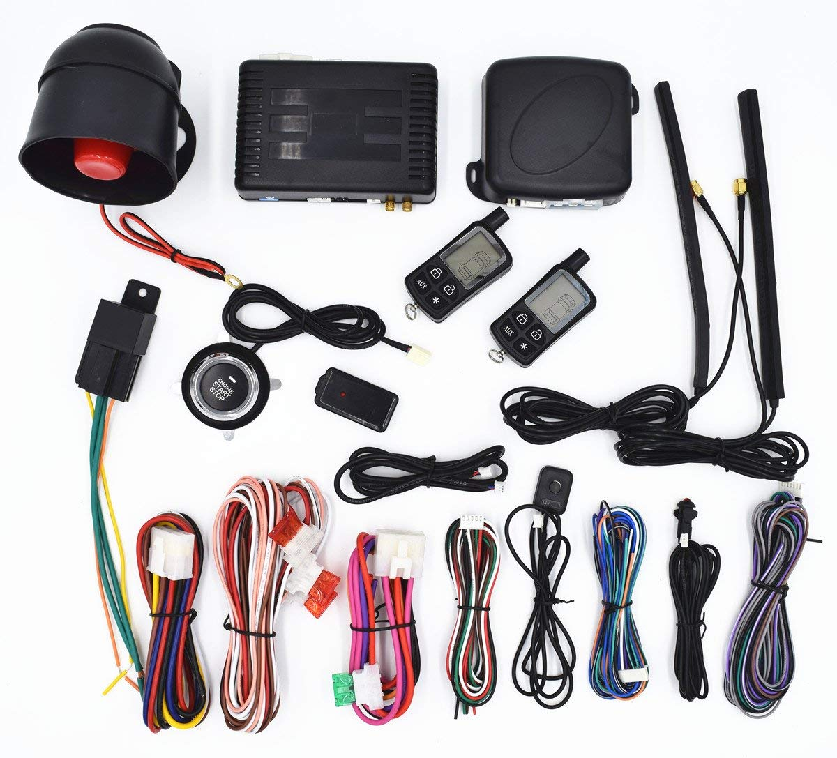 CarBest Vehicle Security Paging Car Alarm 2 Way LCD Sensor Remote Engine Start System Kit Automatic | Push Engine Start Stop Button | Passive Keyless Entry(PKE) | Car Burglar Alarm System - 3300A
