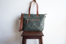 High quality canvas tote bag leather handle canvas diaper bag