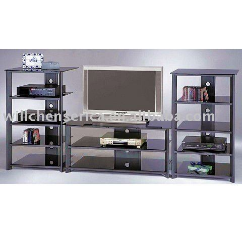 Wall Unit Metal Glass Tv Stand