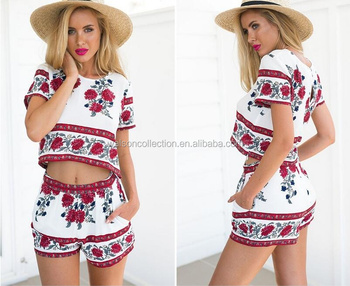 Womens Holiday apparel Sexy Bohemia Print Playsuit Jumpsuit summer beach dress two piece set women dresses