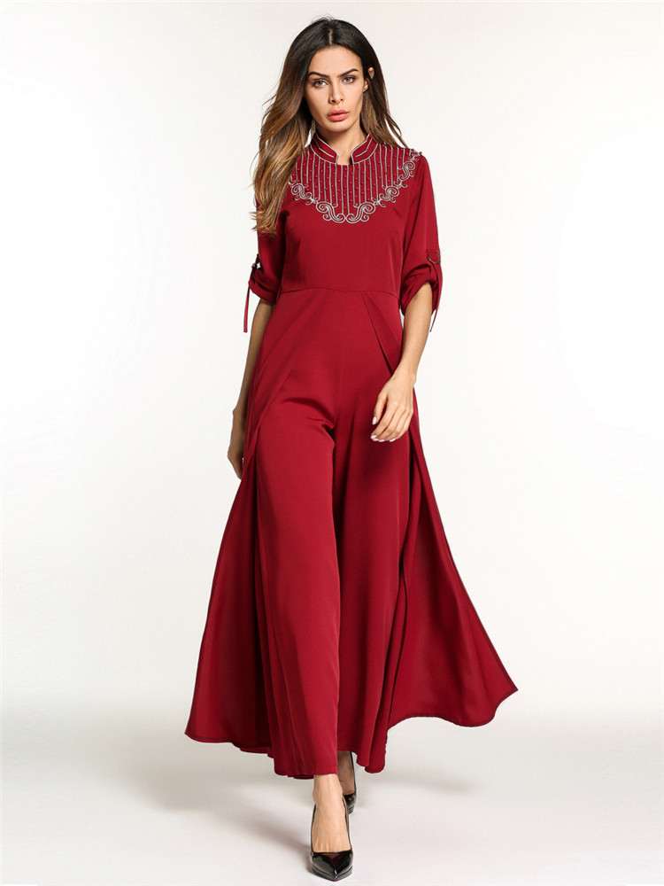 016a817a95 Woman Broad leg dress islamic muslim turkey embroidered stand-up collar  robes