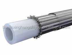 Corrugated metal hose lined with smooth bore PTFE with flared at both ends
