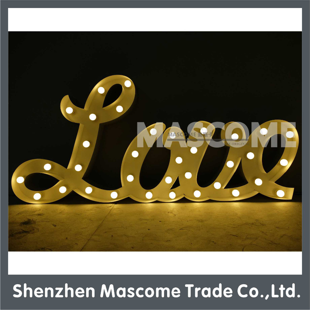 LED bulbs lighted up large metal love letter lights for decoration or advertising
