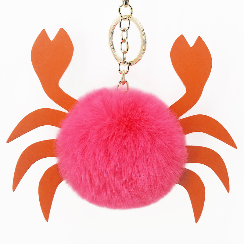 Promotion Colorful Keychain Cute Animal Shape Pom Customizable