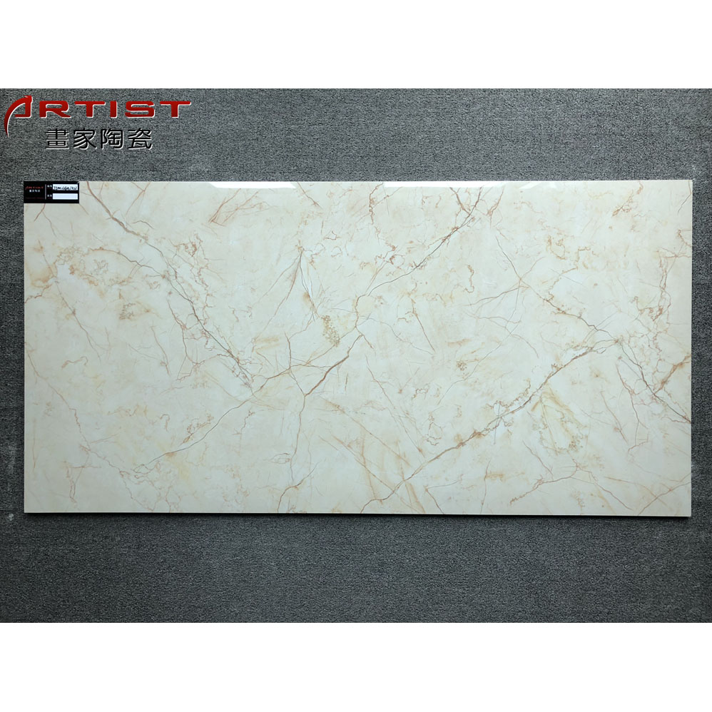 1200*600 cream yellow polished glazed tile brown gold grain marble look ceramic wall tiles