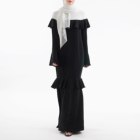 Tone Simple Casual Trumpet Sleeve Muslim Dress Black Ruffle Band Design Baju Kebaya