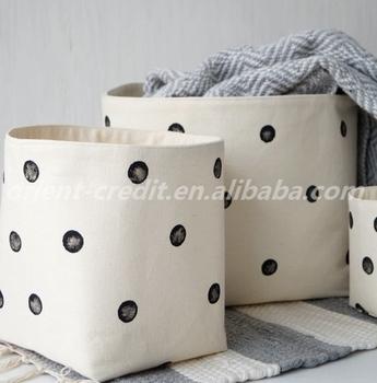 Set Of 3 Cotton Canvas Storage Baskets. Black Polka Dot Nursery Decor.  White Toy