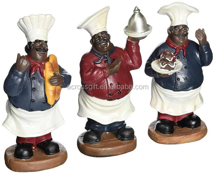 Resin African Americans Table Top Fat Chef Kitchen Statue Set of 3