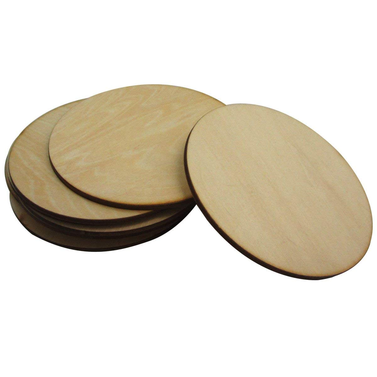 WINGONEER 10pcs 3mm Thick Basswood Round Wooden Disc Blank Wood Cutout for Creating Jewelry Painted Christmas Tree Decorated craft Projects - Diameter 10cm