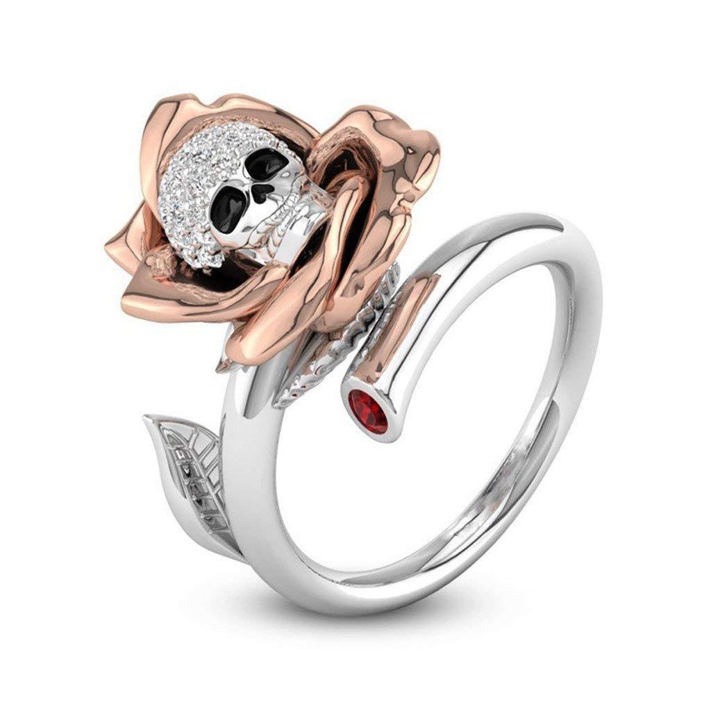 Fashion Ring, Hoshell Creative Skull Heads Diamond Valentine Gift Ring Kull Ring Diamond Hip Hop Adjustable Ring (8)