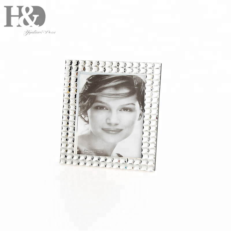 H&D Crystal and Metal Elegant Photo Frame with Small Square Diamond Gem Border