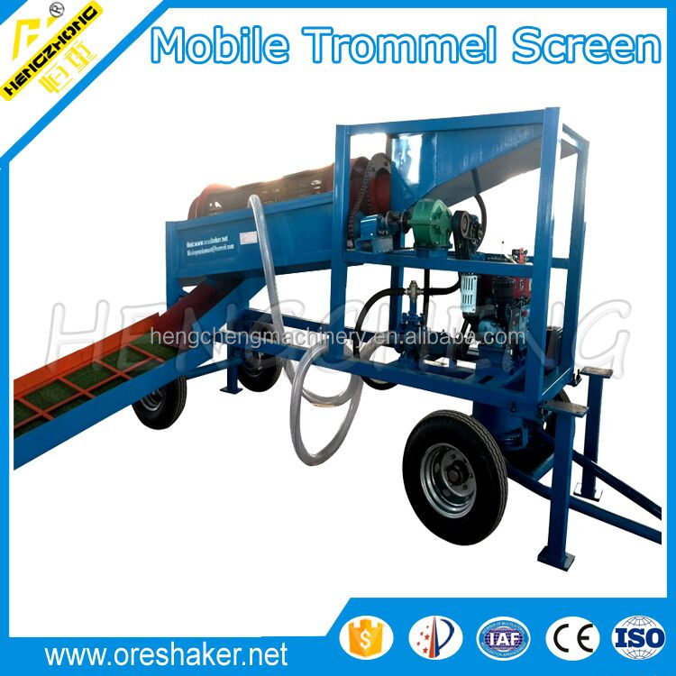 Diesel engine Alluvial portable mini gold trommel