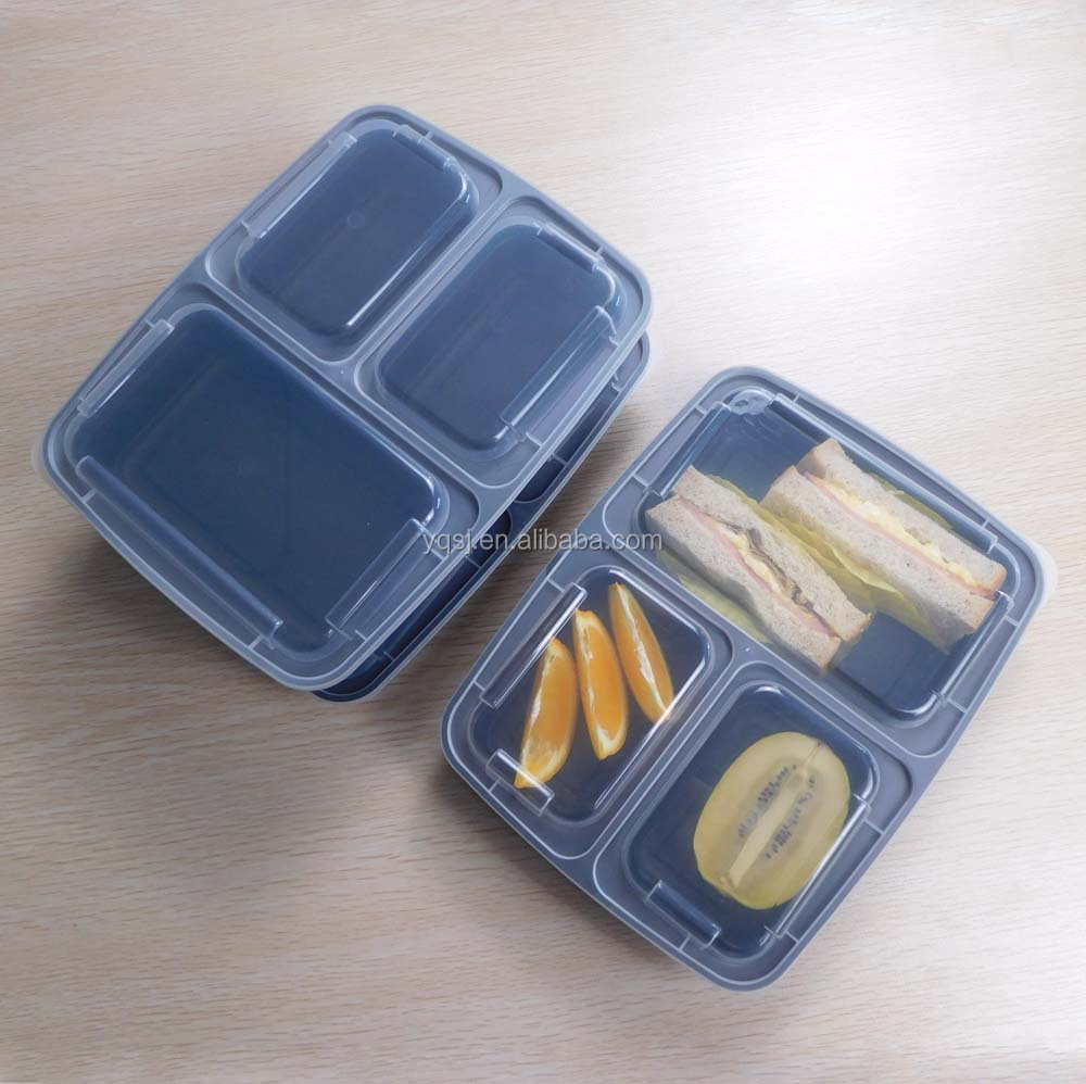 wholesale 1000ml/ 34oz plastic reusable 3 compartments large food storage food containers with lids supplier