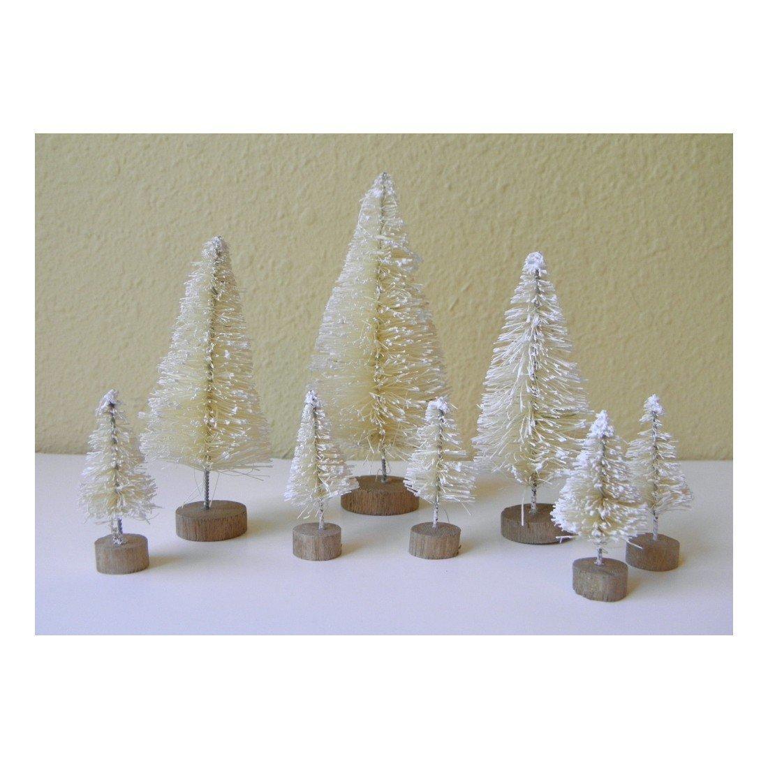 get quotations realdealusa set of 8 mini white sisal bottle brush christmas trees snow frost village putz - Mini White Christmas Tree