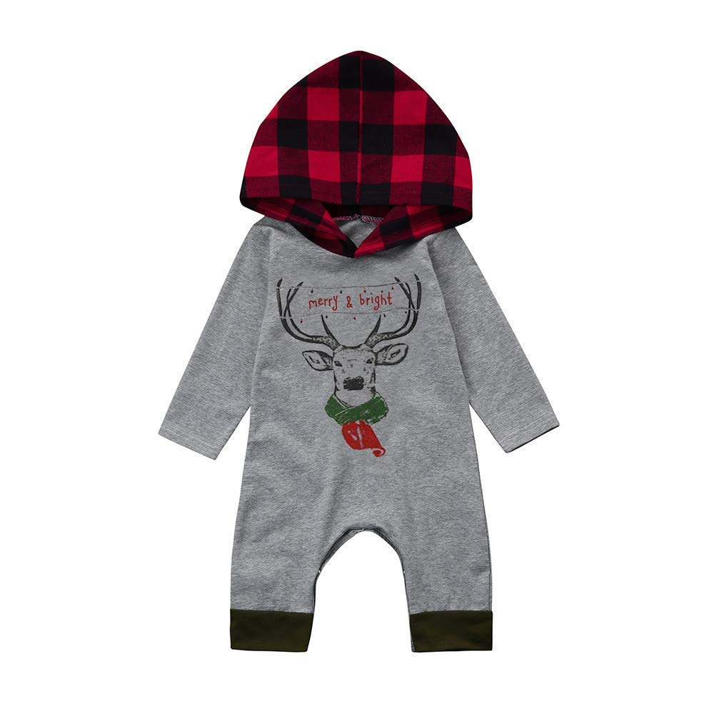 Yihaojia Baby Christmas Winter Autumn Gray Romper Clothes Newborn Infant Baby Boy Girl Deer Plaid Hooded Jumpsuit 3-18M (age: 16-18 month, Gray)