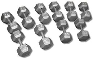 CAP Barbell SDG Economy Cast Iron Hex Dumbbell Set - 55 to 100 lbs (10 pairs) - Garage Gym Dumbbell Expansion Set