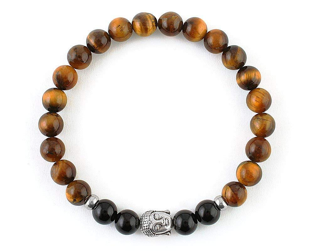 Mens bead bracelet Protection Religious Gold buddha Silver Tiger eye Black Tibetan Onyx jewelry 8 mm