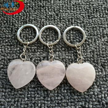 Semi-precious Keychain Engraved Reiki Stone For Lucky hearts