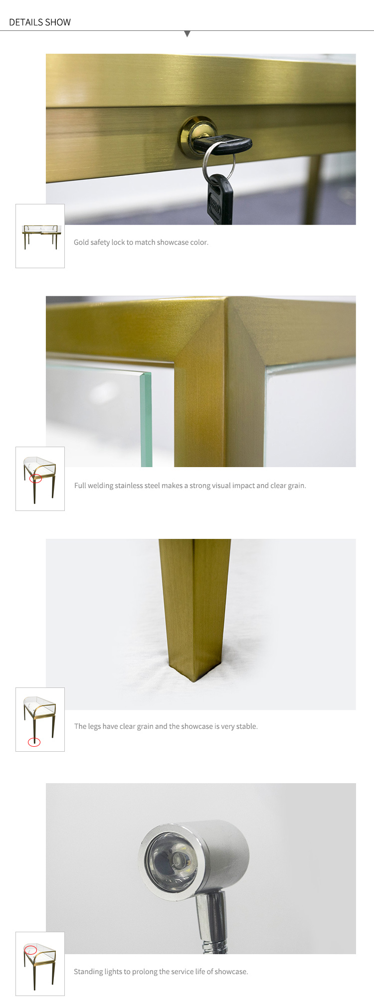 d7337031288 Golden Brushed Stainless Steel Arc Glass Cartier Style Customized Retail  Jewelry Store Display Showcase Counter With Led Light - Buy Jewelry Store  ...