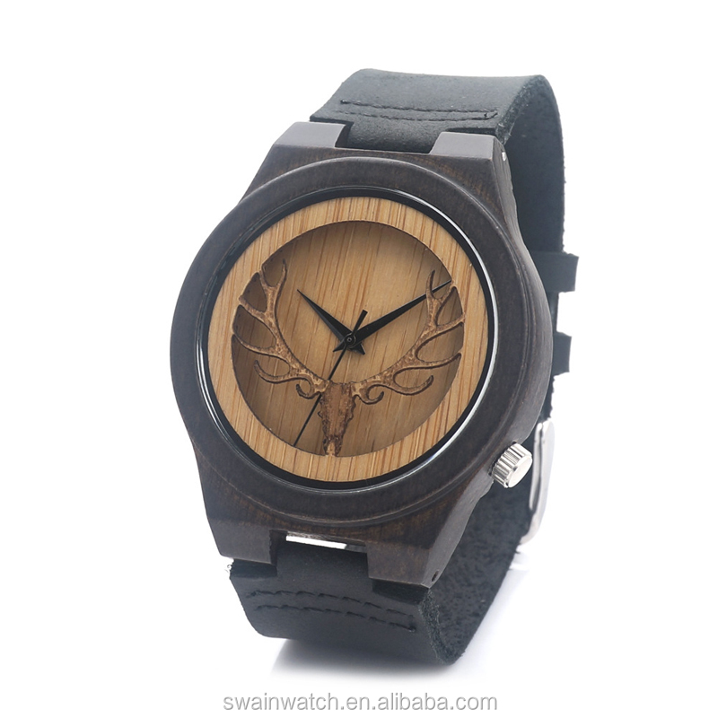 2016 wholesales custom fashion style japan movement mens wrist bamboo watch genuine leather watches