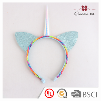Wholesale Friendly BV Rainbow Braided Glitter Cat Ears Headband Unicorn  Horn Headband in Halloween Party d21dfc7bc91