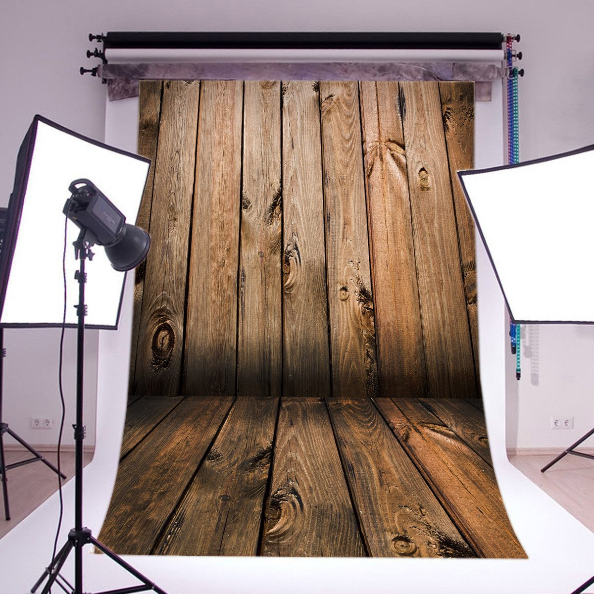 LB 5x7ft Poly Fabric Rustic Barn Wood Floor Photography Background Customized Vintage Wood Photo Backdrops Studio Props Background QD06