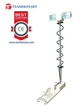 specialty Vehicle Mounted led Light Tower telescopic Metal halogen lamp pneumatic mast portable collapsible tower