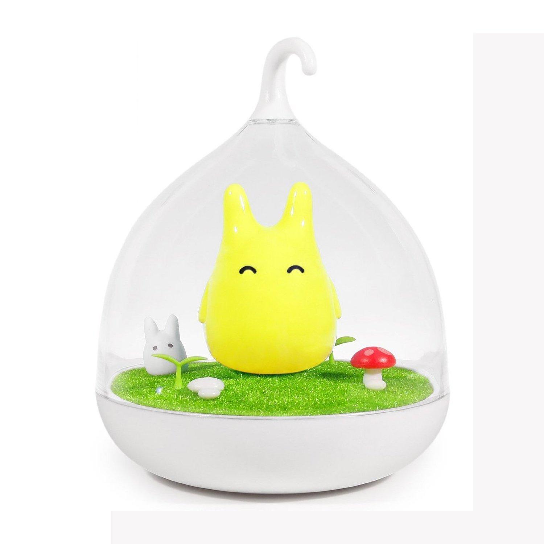 Powstro Baby Night Lights Hand-held Design Touch Sensor Vibration Cage Lamp Night Light Lamp Rechargeable Totoro Touch Sensor USB Light for Baby Child Bedroom Sleep Lighting Art Decor (Yellow)