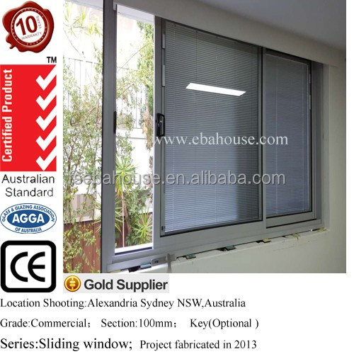 aluminium window aluminium double glazing window with built-in blinds AS2208/AS2047/CE