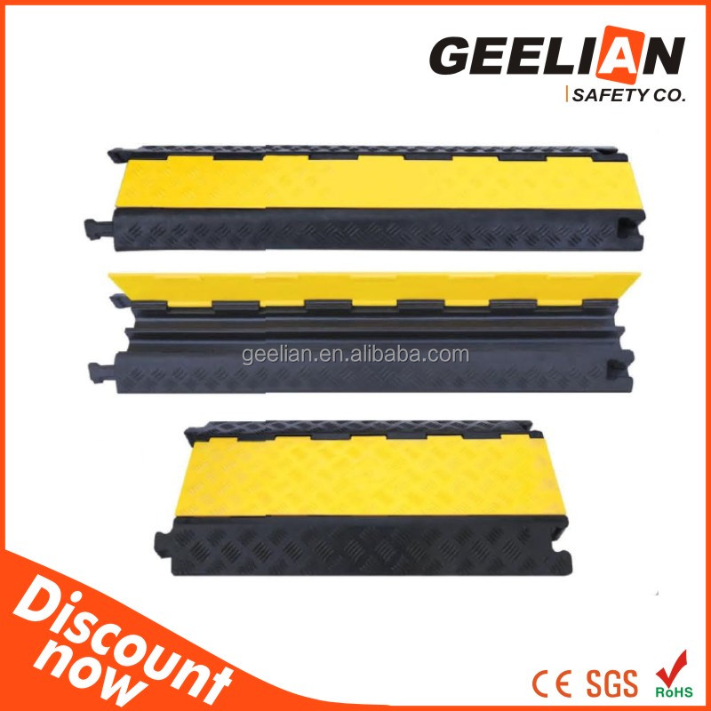 2015 newly on sale 2 Channel Rubber Road Cable Protector, Nylon Fabric Electric Cable Cover,3 Channel Rubber Cable Protector