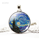 Van Gogh Monet Klimt's Paintings Necklace Art Picture Print Glass Pendant Silver Color Chain Necklace Fashion Jewelry for Women