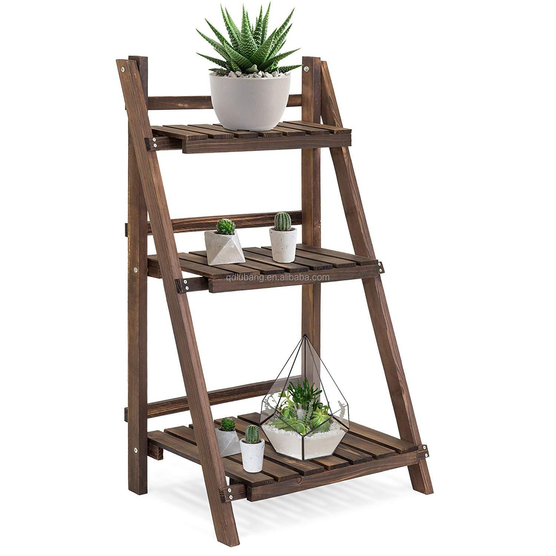 3 Tier  Folding Wooden Flower Pot Stand Flower Plant Display Stand Shelf Ladder