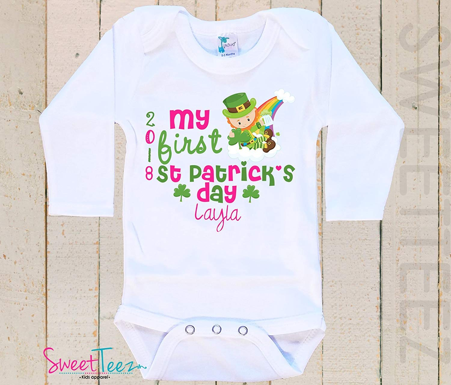 6368038bc175 Get Quotations · My first St Patrick's Day Baby Bodysuit Baby Girl Boy  Personalized with Name and Year Gift
