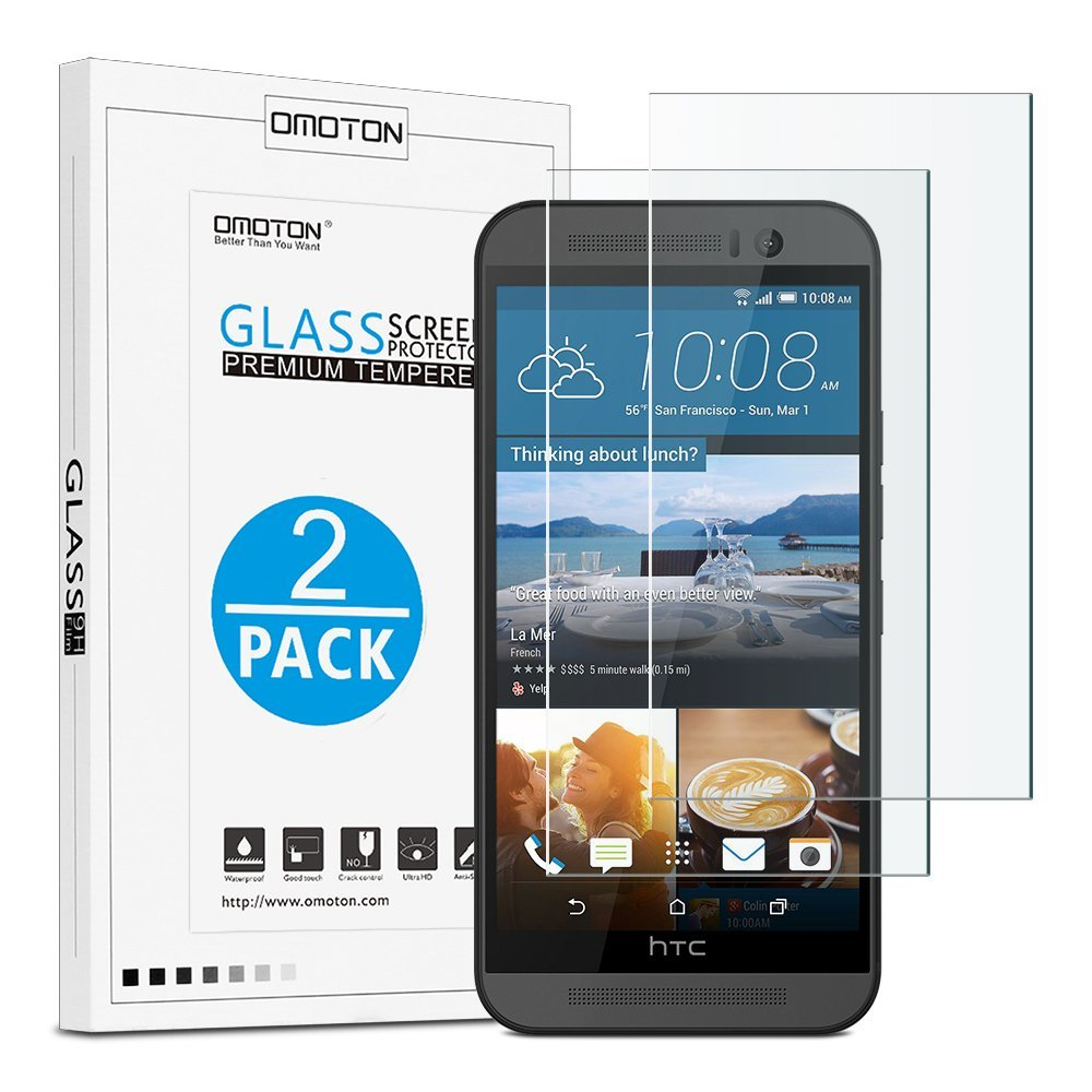 HTC One M9 Screen Protector [2 Pack], OMOTON Tempered Glass Screen Protector for HTC M9 with [9H Hardness] [Ultra-Clarity] [Anti-Scratch] [No-Bubble Installation] for HTC One M9