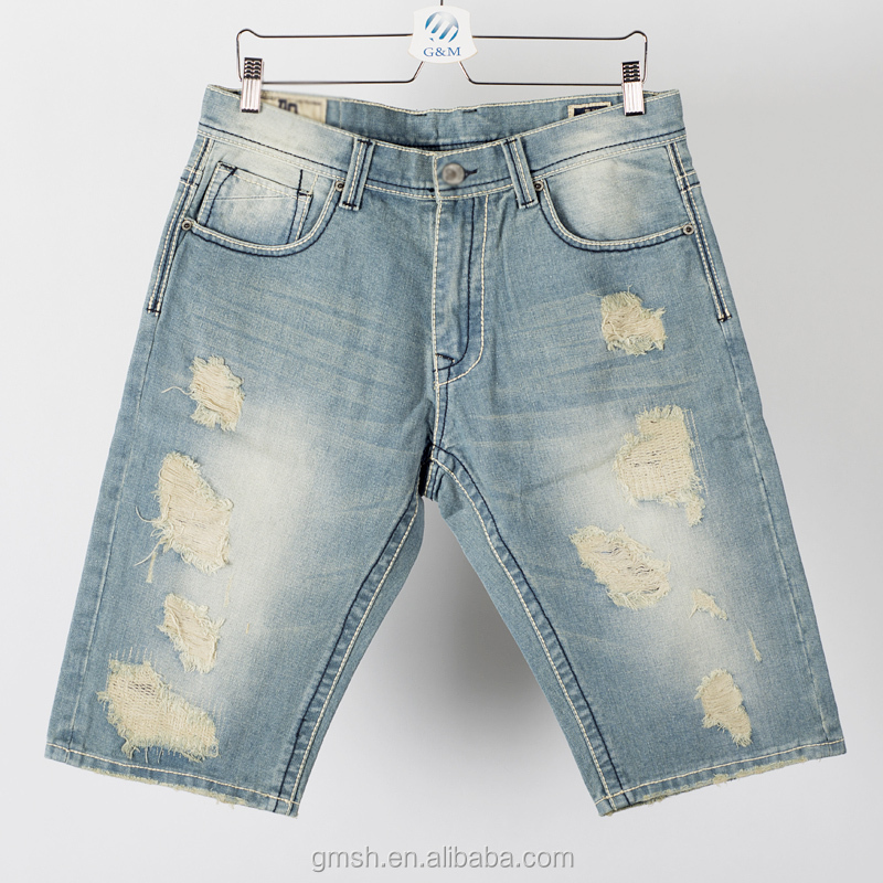 Denim Jeans Shorts Men Damaged And Ripped Jeans Shorts For Men New ...