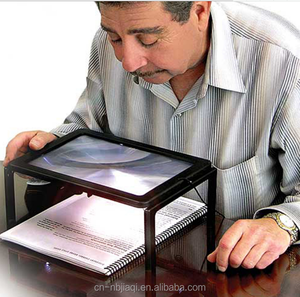 Full Page Desk Type Magnifying Glass Illuminated Hands Free Magnifier with 4 LED Lamps for Old Man Reading