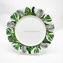 10.5 inch green leaf decoration round shaped paper dinner plates for wedding party