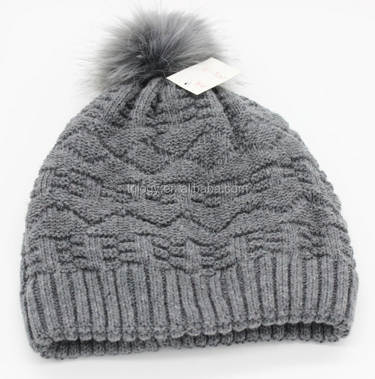 Trendy Chunky Women Fleece Lined Beanie Hat With Matching Color Fake Fur Ball