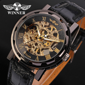 AW036 Hot Sale Hand Wind Mechanical Skeleton Mens Winner Watch