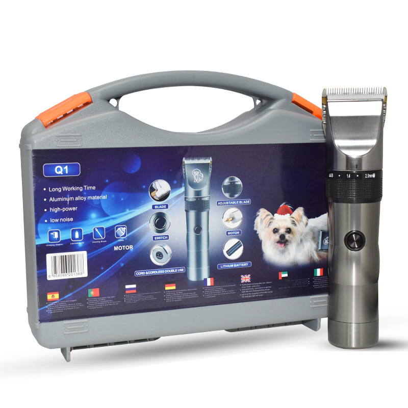 New design high quality Aluminium alloy professional rechargeable pet <strong>hair</strong> grooming <strong>cordless</strong> low noise electric <strong>clipper</strong>