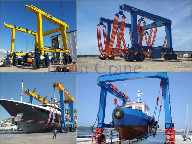 The Hydraulic Crane Is Used To Lift The 1400 : Hydraulic ton travel lift boat lifting