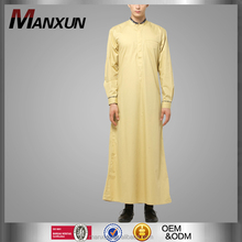 Mens Thobe Islamic Clothing with X Series Light Gold Men Abaya Long Sleeves Muslim Thawb