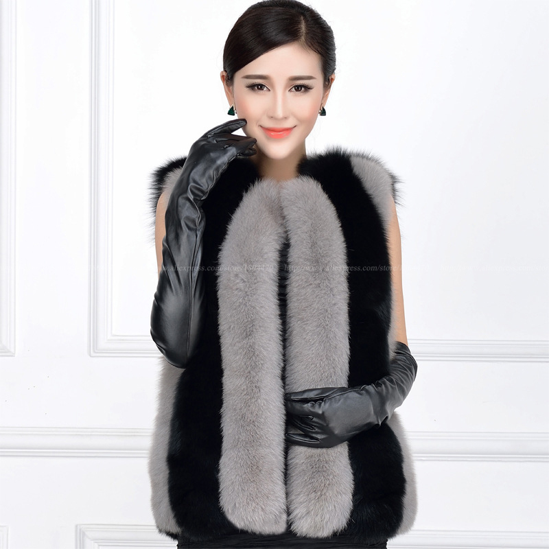 White Black Striped Winter Fox Fur Faux Vest Slim Sleeveless Long Raccoon Faux Vest Femme Jackets Short Vest Faux Fur Waistcoats