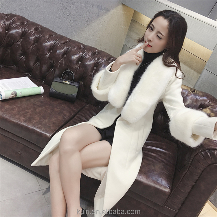 new women winter jacket coat blend cashmere female fluffy outwear blend fox fur slim feminino autumn long woollen jacket women