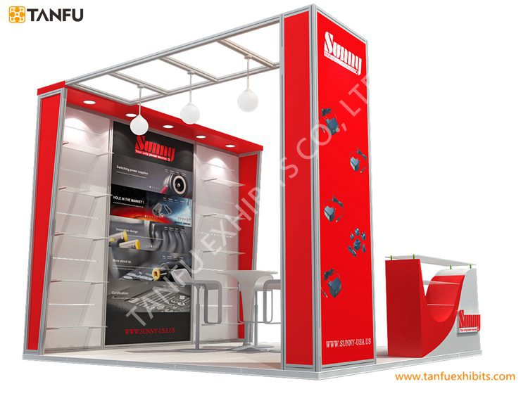 Modular Exhibition Stands Zero : Or modular exhibition stand with shelves for