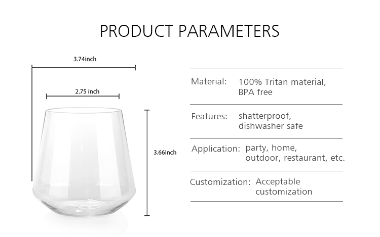 Wholesale Cheap Transparent Drinking Glass Cup Whiskey Glass Cup Stemless Wine Glass for Party Home Outdoor Picnic