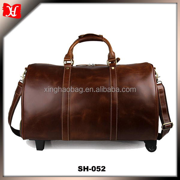 Business trip fashion man carry leather duffel weekend travel bag