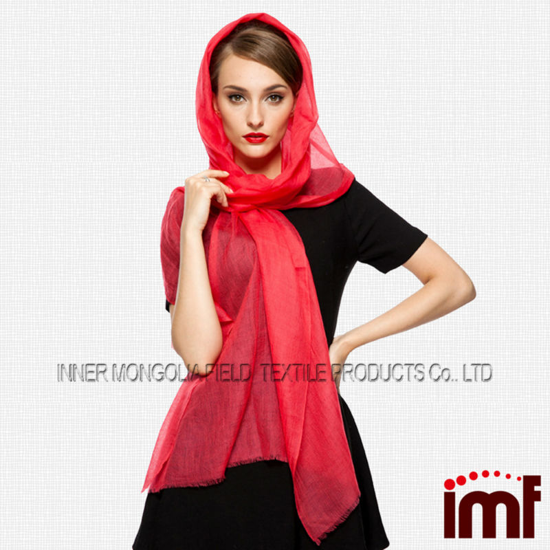 200s/2 Featherweight Plain Red Customized Maxi Scarf Pashmina 100% Wool