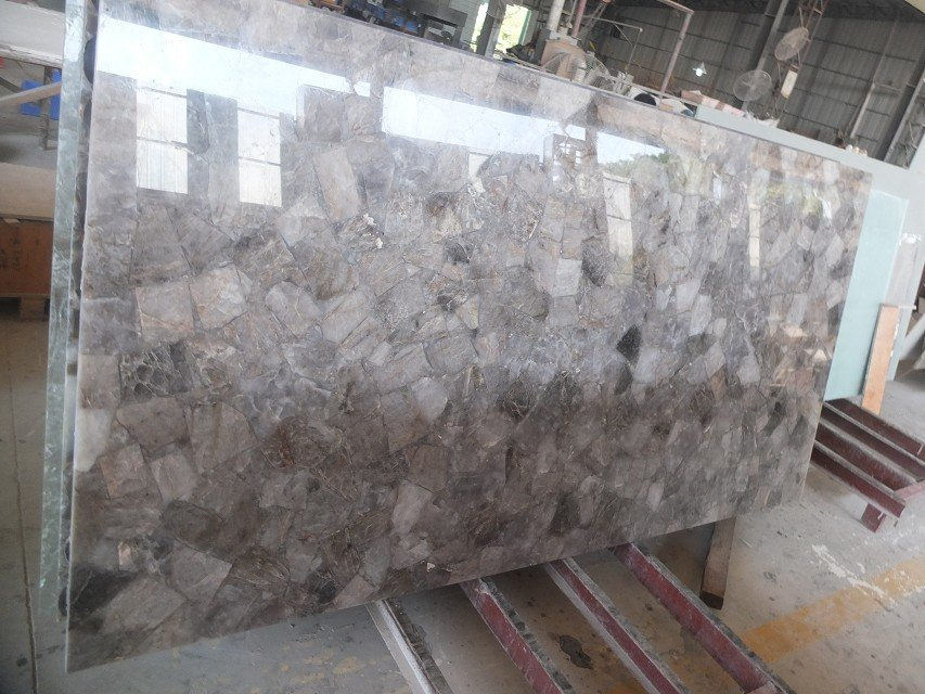 gemstone natural smoky quartz stone slab for crystal tabletop - Stone Slab Hotel 2015